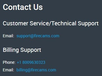 FireCams allows for email and FAQ customer support